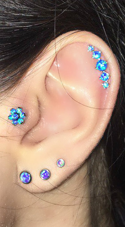 Cut Ear Piercing Multiple Combinations Ideas Cartilage Opal Flower Tragus Ear Stud - 5 Opal Cartilage Earring - Triple Purple Lobe Piercings at MyBodiArt.com
