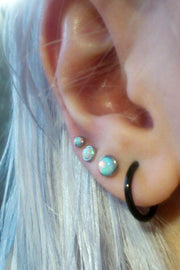 Simple Opal Triple Ear Lobe Ear Piercing Ideas for Women - www.MyBodiArt.com