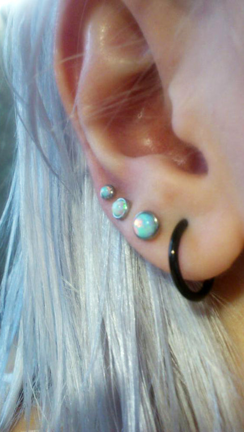 Triple Lobe Cute Ear Piercing Ideas - Opal Earring Studs 16G - Black Hoop Ring 16G - MyBodiArt.com