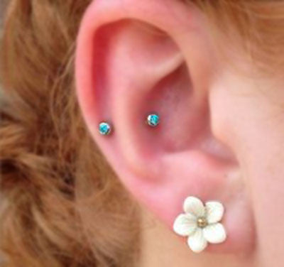 Opal Blue Ear Piercings for Tragus Earring, Cartilage Studs, Helix Barbells at MyBodiArt