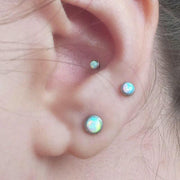 Simple Opal Conch Ear Piercing Ideas Jewelry Earrings -  lindas ideas para perforar orejas para mujeres - www.MyBodiArt.com