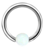 Andromeda Opal Ball Captive Bead Ring - Opalite at MyBodiArt.com