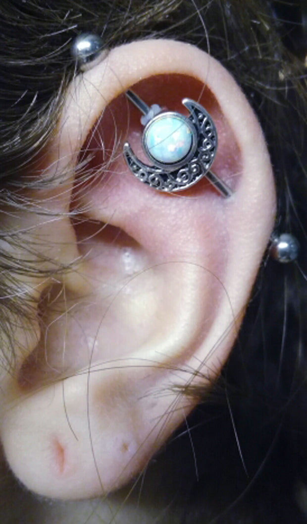 Simple & Cute Ear Piercing Ideas - Industrial Barbell Earring Opal Moon 14G - MyBodiArt.com
