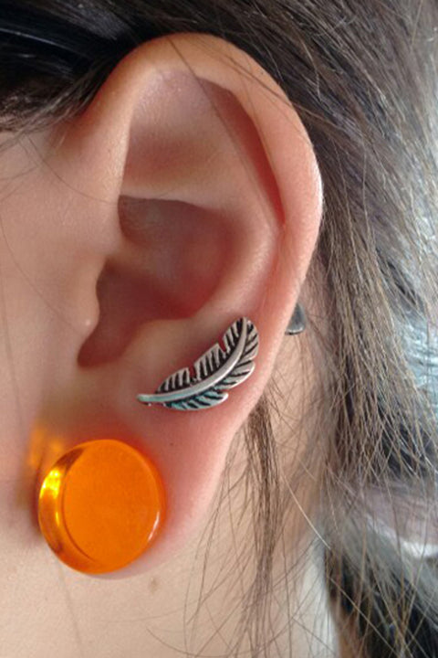 Beautiful Ear Piercing Ideas at MyBodiArt.com - Leaf Feather Cartilage Pinna Auricle Earring Stud 16G