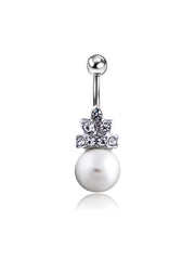 Pearl Crystal Crown Belly Button Rings in Silver 14G at MyBodiArt.com