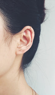 Cute Earring Piercing Ideas at MyBodiArt.com - Criss Cross Cartilage Earring Ring - Gold Double Helix Hoop - Hammered Ear Climber - MyBodiArt.com