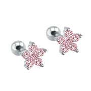 Cute Multiple Ear Piercing Ideas for Teenagers - Minimalist Classy Dainty Pink Crystal Flower 16G Earring Stud for Cartilage, Helix, Conch, Tragus - Linda oreja múltiple Piercing Ideas para adolescentes - www.MyBodiArt.com #earrings
