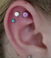 Bold Blue Opal Cartilage Piercing Earring at MyBodiArt