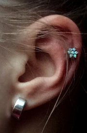 Opal Flower Cartilage Piercing Jewelry Stud Placement Ideas at MyBodiArt.com