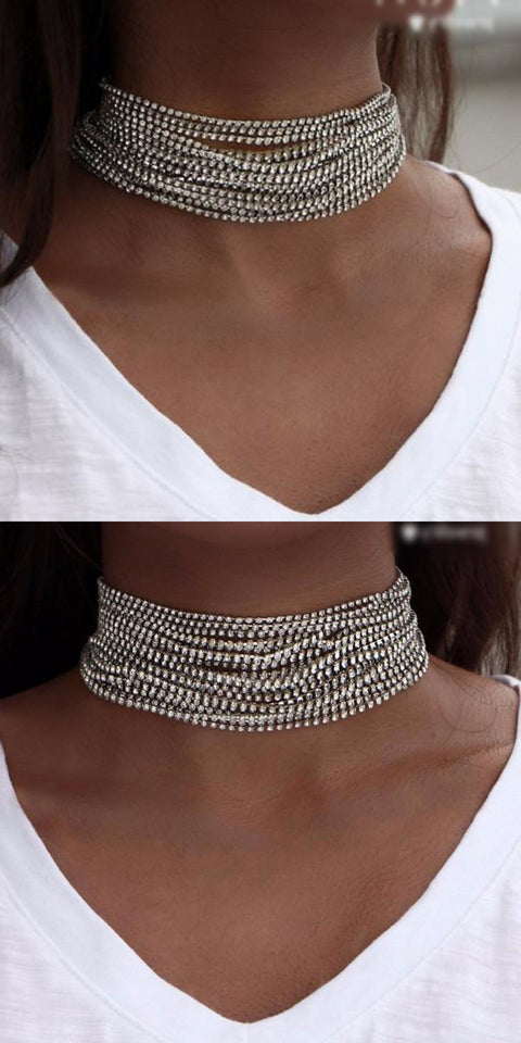 Crystal Layered Stacked Choker Necklace at MyBodiArt.com  - Fancy Elegant Evening Outfit Ideas