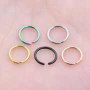 Cute Segment Ring Septum Ear Piercing Cartilage Helix Conch Rook Tragus Earring in Rainbow, Silver, Gold, Black, Rose Gold - www.MyBodiArt.com