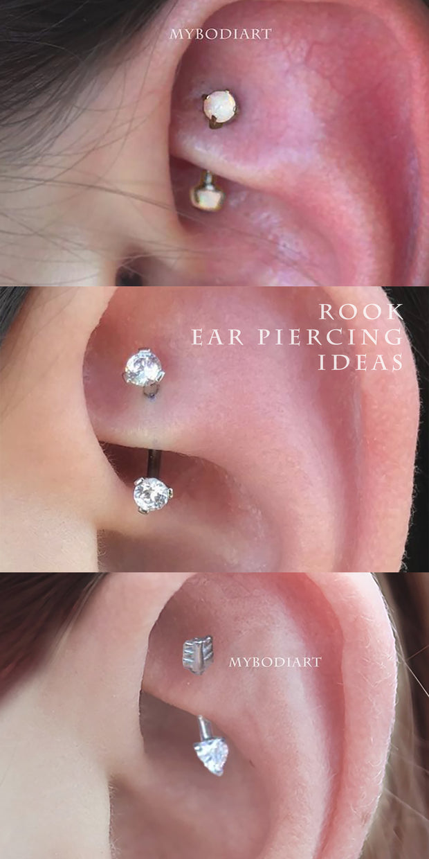 Cute Simple Crystal Rook Ear Piercing Jewelry Curved Barbell 16G -  ideas de joyería piercing de oreja - www.MyBodiArt.com #rook #piercing