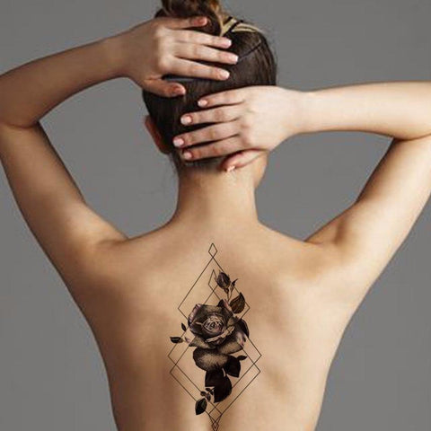 Black Rose Flower Back Temporary Tattoo at MyBodiArt.com