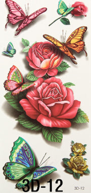 Mandy Butterfly & Roses Temporary Tattoo