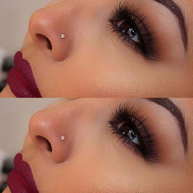 Cute Silver or Gold Nose Stud Piercing Jewelry Bone - www.MyBodiArt.com
