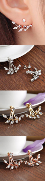 ear piercing ideas lobe ear jacket earring crystal statment rose gold silver - mybodiart.com