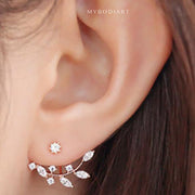 Cute Crystal Leaf Ear Jacket Earrings for Women Fashion Jewelry in Silver, Gold, Rose Gold  - www.MyBodiArt.com