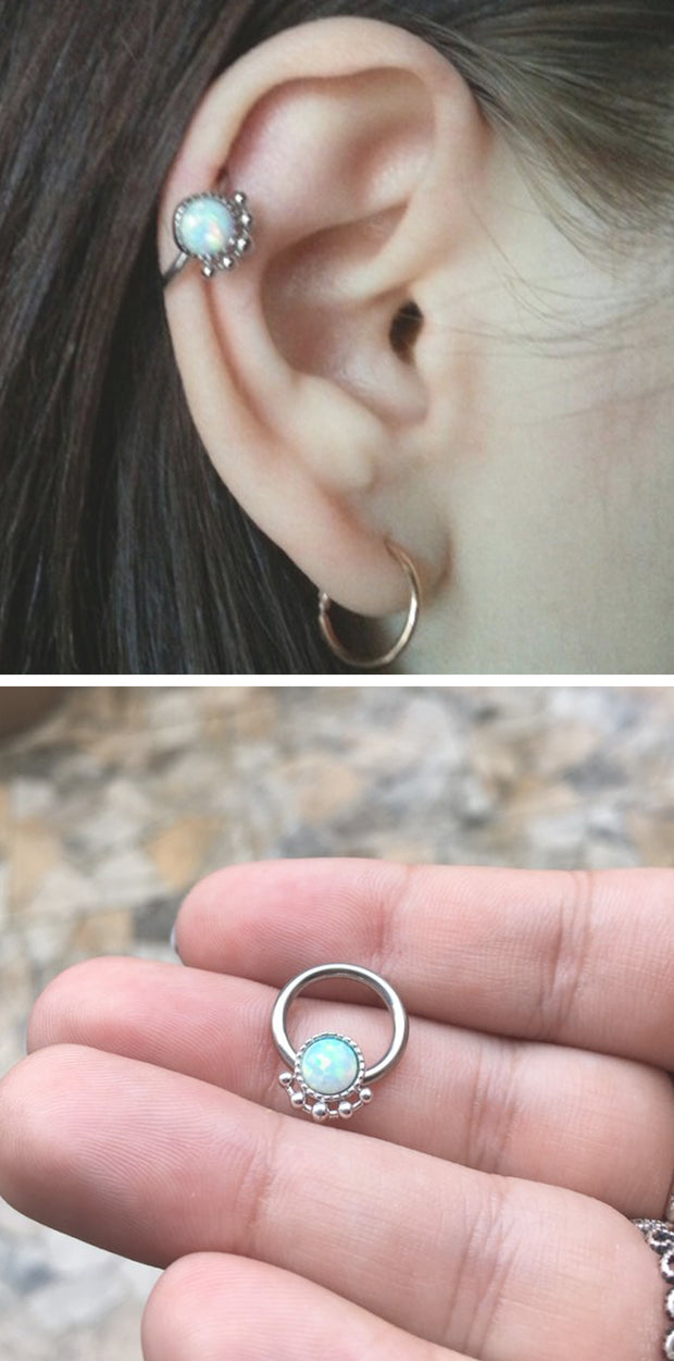 Simple Ear Piercing Ideas Cartilage Opal Ring Hoop Silver Earring - www.MyBodiArt.com