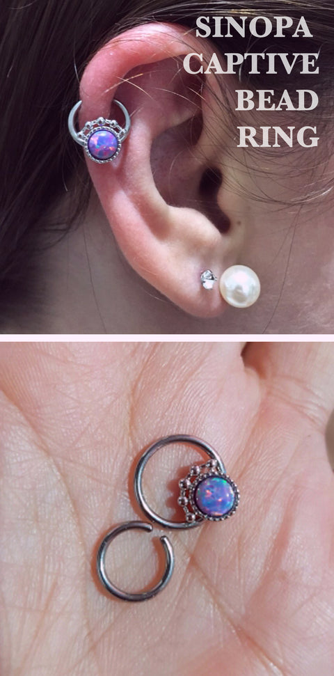 Feminine Unique Cartilage Ear Piercing Ideas - Opal Ring Hoop 16G Helix Auricle Earring - Tribal Captive Bead Ring - www.MyBodiArt.com