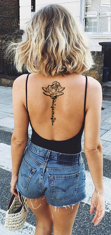 Silom black henna tribal lotus sanskrit script temporary for The girl with the lower back tattoo review