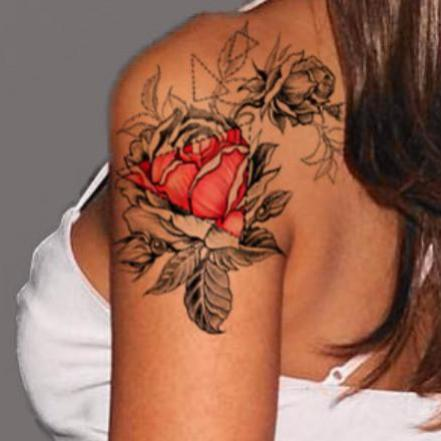 Sabella Geometric Black and Red Rose Flower Tattoo Ideas at MyBodiArt.com