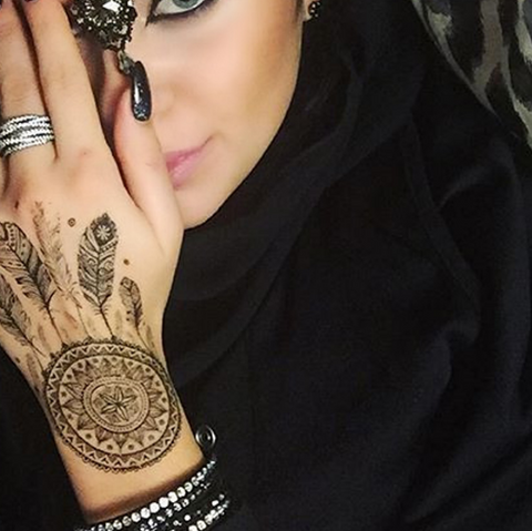 Arabic Dreamcatcher Hand Temporary Tattoo at MyBodiArt