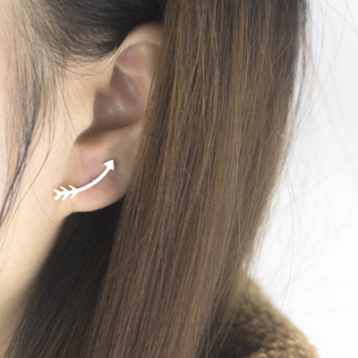 Simple Arrow Earring Studs - Ear Climber - Ear Crawler - Ear Jackets at MyBodiArt.com