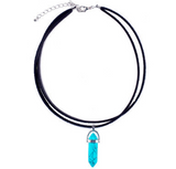 Boho Style - Black Leather Choker Necklace Outfit Ideas at MyBodiArt.com - Opal Gemstone - Clear Crystal - Turquoise - Howlite - Amethyst - Black Agate - Rose Quartz