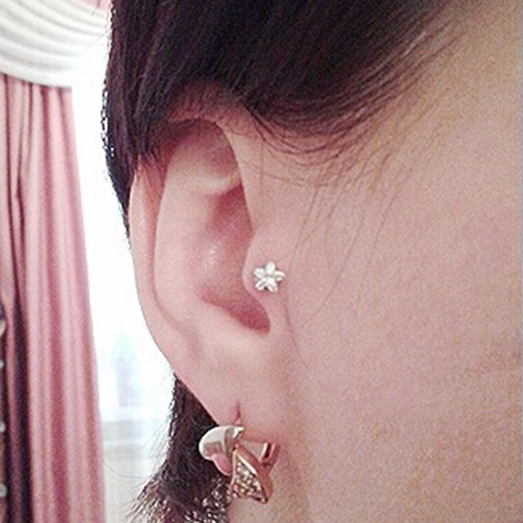 Cute Simple Dainty Crystal Star Tragus Ear Piercing Ideas for Women - www.MyBodiArt.com