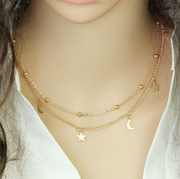 Stars and Moon Double Layered Gold Necklace at MyBodiArt.com
