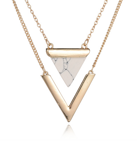 Boho Style Bohemian Fashion 2017 - Lana Geometric Gold Howlite Necklace at MyBodiArt.com