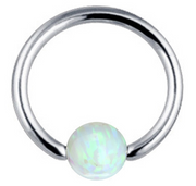 Andromeda Opal Ball Captive Bead Ring - Baby Blue at MyBodiArt.com