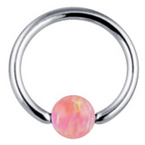 Andromeda Opal Ball Captive Bead Ring - Fire Opal at MyBodiArt.com