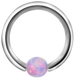 Andromeda Opal Ball Captive Bead Ring - Lilac Purple at MyBodiArt.com