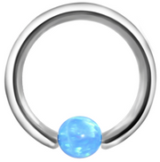 Andromeda Opal Ball Captive Bead Ring - Blue at MyBodiArt.com