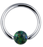 Andromeda Opal Ball Captive Bead Ring - Emerald Green at MyBodiArt.com
