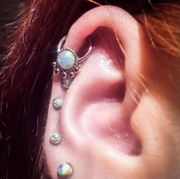 Beautiful Simple Opal Cartilage Ring Hoop Jewelry Ear Piercing Ideas at MyBodiArt.com