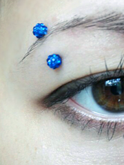 Dark Blue Crystal Ferido Ball Eyebrow Ring Piercing Jewelry Curved Barbell 16G 16 Gauge at MyBodiArt.com