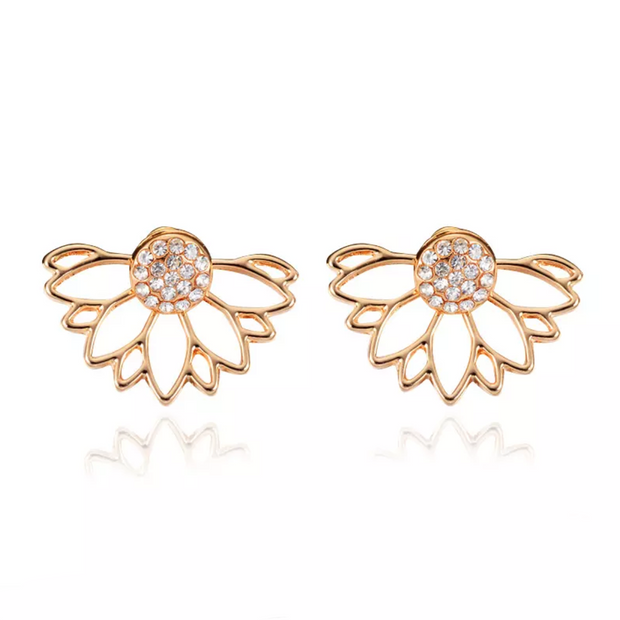 Popular Gold Lotus Flower Earring Jacket for Women at MyBodiArt.com