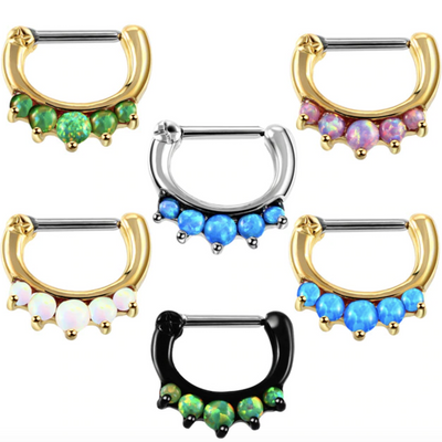 Opal Septum Piercing Ring Jewelry at MyBodiArt
