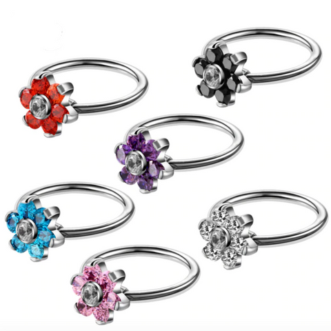 Swarovski Crystal Flower Captive Bead Ring for Septum, Cartilage, Rook, Daith Ear Piercing Jewelry Ideas for Women - www.MyBodiArt.com