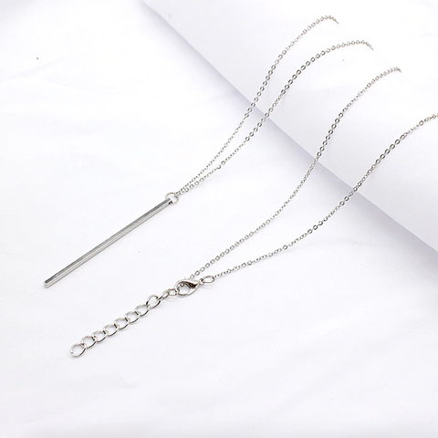 Cute Minimalist Simple Long Bar Dainty Chain Necklace for Women Fashion Jewelry in Gold or Silver - www.MyBodiArt.com