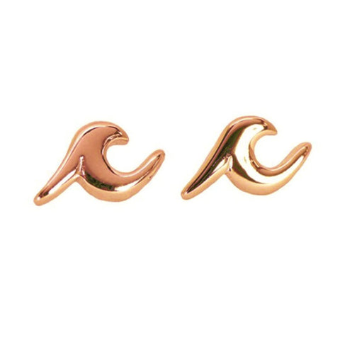 Cute Simple Beach Wave Ocean Surf Earring Stud Fashion Jewelry for Women in Gold, Silver, Rose Gold - www.MyBodiArt.com