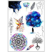 Hanami Watercolor Geometric Mandala Temporary Tattoo