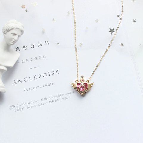 Cute Sailor Moon Pink Crystal Heart Angel Wing Gold Chain Choker Necklace Statement Jewelry for Women - www.MyBodiArt.com #necklaces