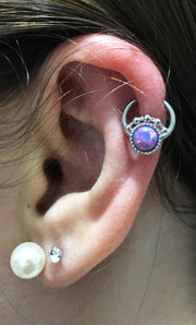 Cute Ear Piercing Ideas at MyBodiArt.com - Opal Ring Hoop - Pearl Lobe Earring Studs