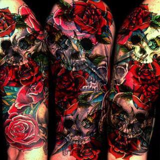 Candy Skull & Roses Tattoo