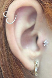 Cute Multiple Ear Piercing Ideas - Wired Heart Cartilage Ring Hoop - Crystal Flower Tragus Stud Earring - www.MyBodiArt.com
