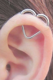 Simple Ear Piercing Ideas at MyBodiArt.com - Silver Heart Cartilage Helix Earring Ring Hoop