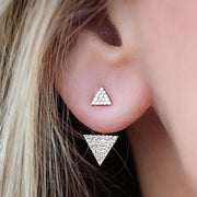 Minimal Cute Boho Ear Piercing Jewelry - Sukiomi Crystal Triangle Ear Jacket Earring in Gold or Silver - MyBodiArt.com
